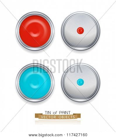 vector paint cans isolated on white background (top view)