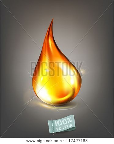 vector golden drop of oil on a gray background
