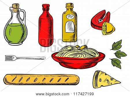 Italian pasta, ingredients and food