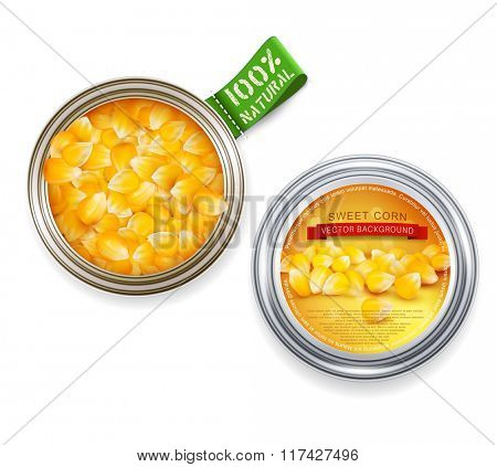vector open tin can with grains of maize and cans with the label
