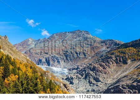 Autumn View Of Aletsch Glacier And Eggishorn