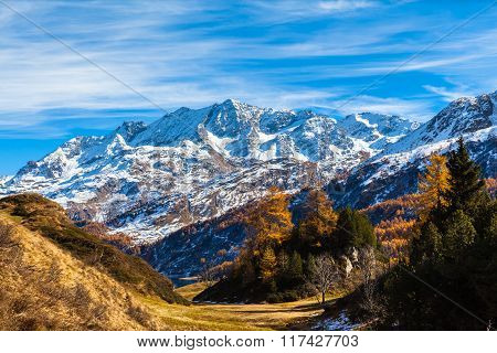 Stunning View Engadin Alps In Golden Autumn