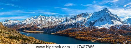 Panorama View Of Sils Lake And The Engadin Alps In Golden Autumn