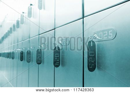 Rows of private bank lockers with tagged keys