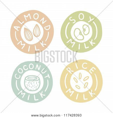 Almond, soy, coconut, rice milk badges.