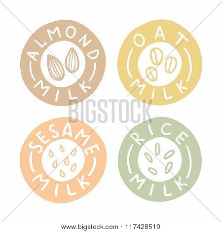 Almond,oat, sesame, rice milk badges.