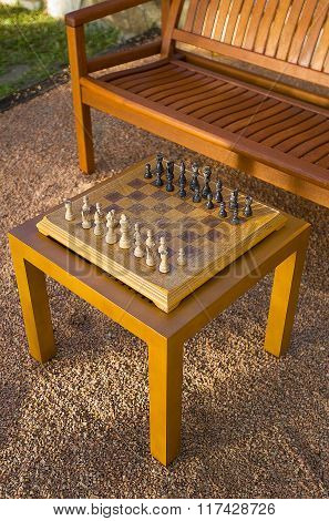 Chessboard Set Up Outdoors