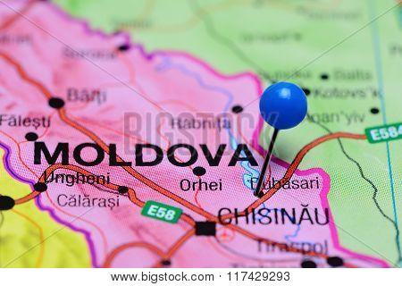 Dubasari pinned on a map of Moldova