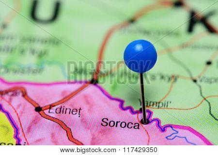 Soroca pinned on a map of Moldova