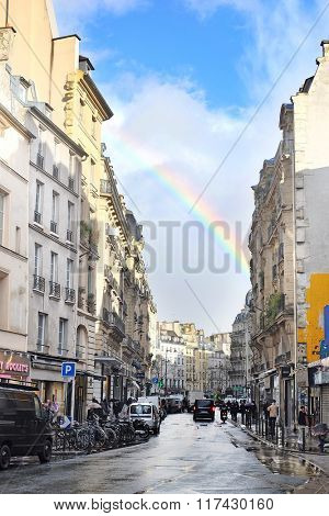 Paris, France, February 8, 2016: rainbow over Paris, France
