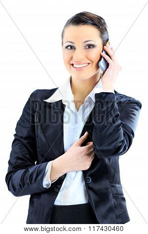 business woman talks on the phone.