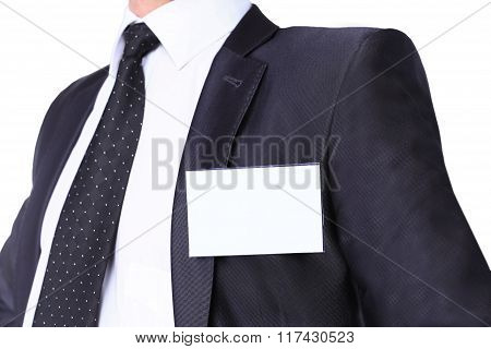 White Blank Badge on mens torso.