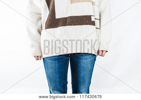 Somebody In Jeans And Sweater