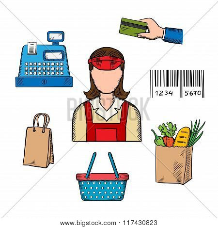 Seller profession and shopping icons