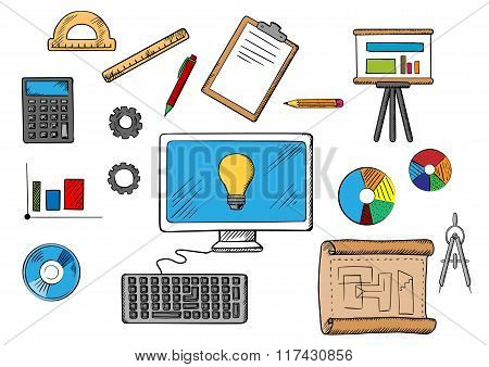 Online inspiration, idea and research concept