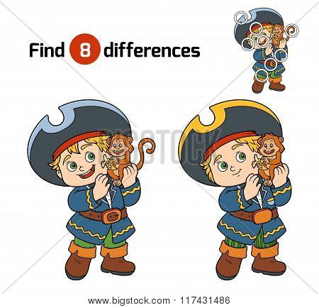 Find Differences For Children (pirate Boy And Monkey)