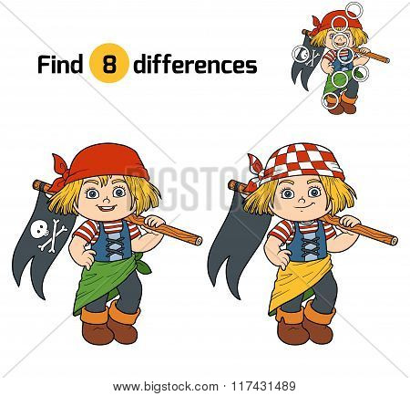 Find Differences (pirate Girl And Flag)