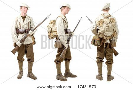 French Mountain Infantry Soldier During The Second World War, On White