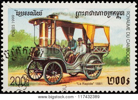 Old Car La Rapide (1881) On Postage Stamp