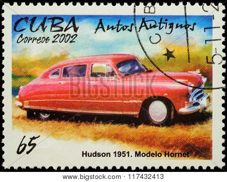 Old Car Hudson Hornet (1951) On Postage Stamp