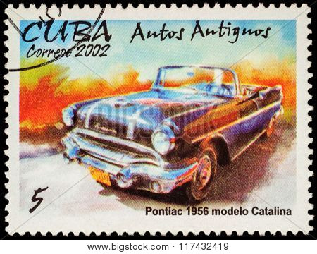 Old Car Pontiac Catalina (1956) On Postage Stamp
