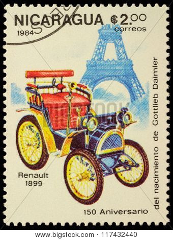 First Car Of Renault (1899) On Postage Stamp