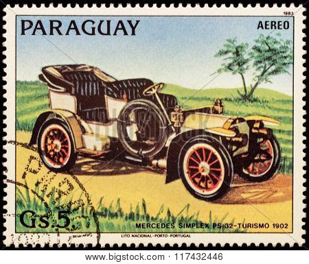Old Car Mercedes Simplex Ps 32 (1902) On Postage Stamp