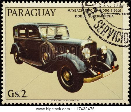 Old Car Maybach W-6/dsg (1933) On Postage Stamp