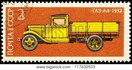 Old Russian Lorry Gas-aa (1932) On Postage Stamp