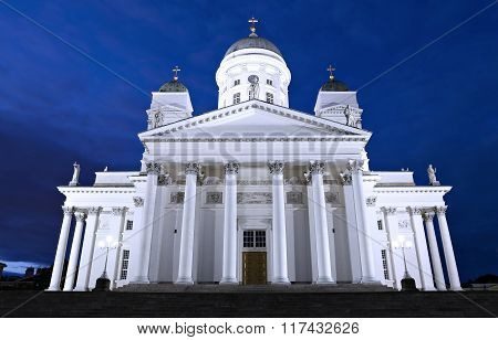 Cathedral Of St. Nicholas (cathedral Basilica) In Helsinki At Night