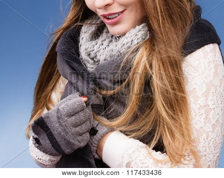 Winter Fashion Girl Wearing Warm Clothes
