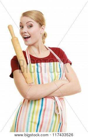 Housewife Or Baker Chef Holds Baking Rolling Pin