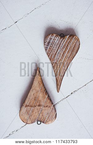 Two Hearts Made Of Wood