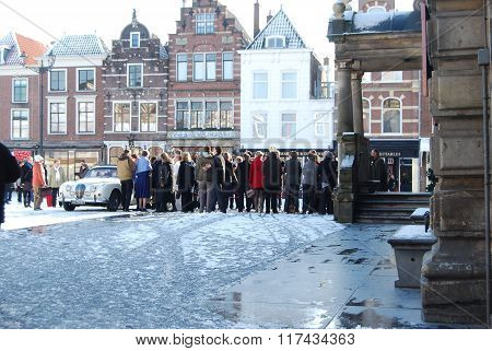 Delft, Netherlands - January 31: Daily And Snowy Main Square Of Delft In The Netherlands In The Morn