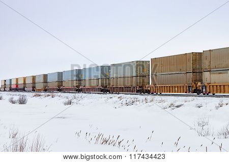 Container Train In Prairie Winter