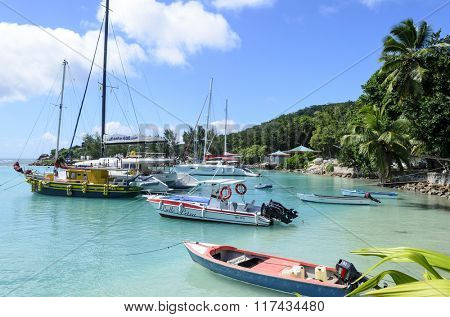LA PASSE, SEYCHELLE - JULY 08: View of the marina full of sailing boats in summer sunny day on 8 July 2015 in La Passe, La Digue Island, Seychelle.