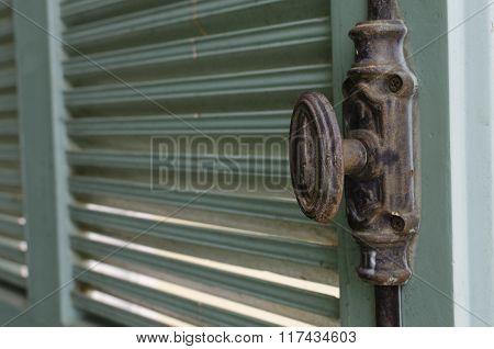 Door Handle On Old Wooden Door