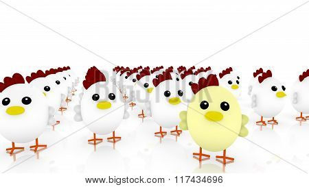 Chicken Army With Many Little Cute White Chicken