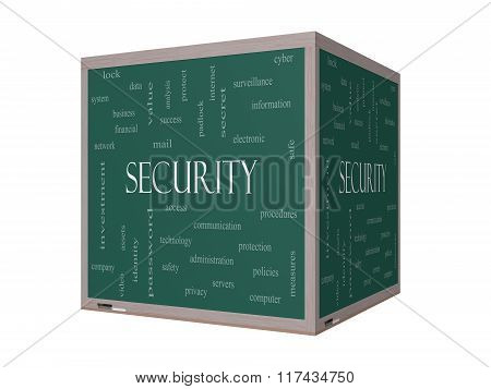 Security 3D Word Cloud Concept On A Blackboard