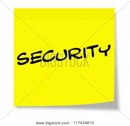 Security Written On A Yellow Sticky Note