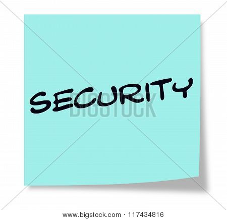 Security Written On A Blue Sticky Note