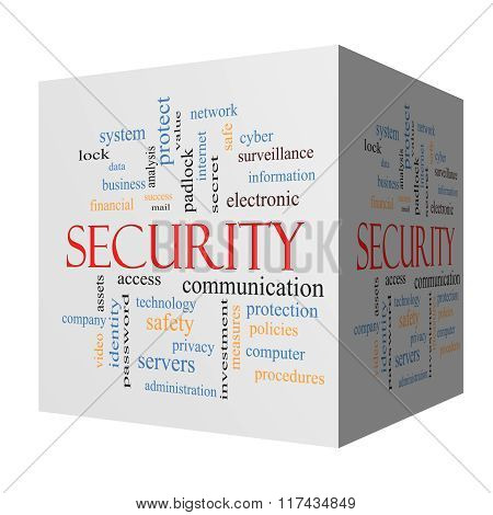 Security 3D Cube Word Cloud Concept