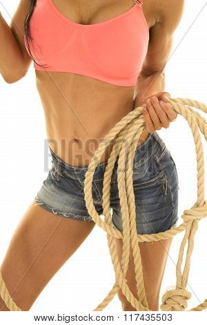 Cowgirl In Denim Shorts And Pink Sports Bra Rope And Body