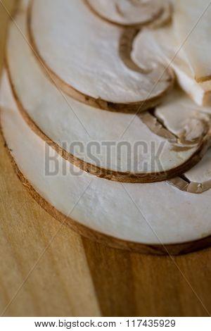 Closeup Macro Shot Of Crimini Mushrooms