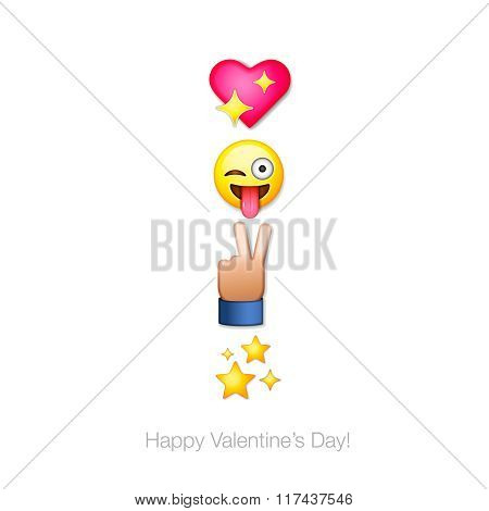 Happy Valentines day emoticon icons, Love emoji set, greeting card, vector illustration.