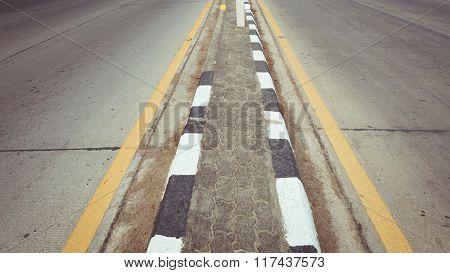 Black Asphalt Concrete Road With Two Lane