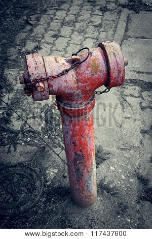 Red Old Water Pump For Fire Hydrant On Street