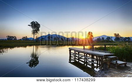 Serene Sunrise over fishing Jetty , hong kong Nam Sang Wai
