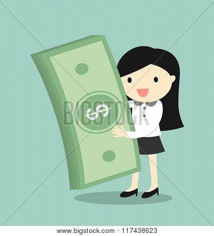 Business concept, Business woman is holding money and feeling happy. Vector illustration.