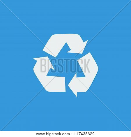 Recycle Icon, On Blue Background, White Outline, Large Size Symbol
